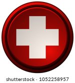 white plus sign on a round red... | Shutterstock .eps vector #1052258957