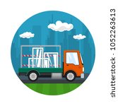 icon of small truck transports... | Shutterstock .eps vector #1052263613