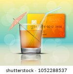 credit card   glass cold drink... | Shutterstock .eps vector #1052288537
