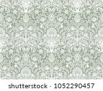 seamless green lace background... | Shutterstock . vector #1052290457