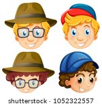 four faces of boys wearing hats ... | Shutterstock .eps vector #1052322557
