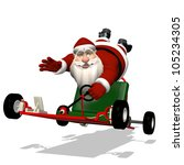 Santa Runaway Go Kart: Santa hanging on to a runaway go kart as it speeds away. - stock photo