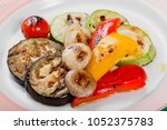 baked vegetables  mushrooms ... | Shutterstock . vector #1052375783