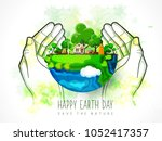 earth day. eco friendly concept.... | Shutterstock .eps vector #1052417357
