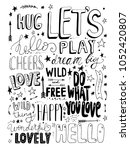 set of hand drawn monochrome... | Shutterstock .eps vector #1052420807