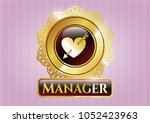gold shiny badge with heart... | Shutterstock .eps vector #1052423963