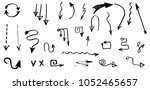 hand drawn vector arrows ... | Shutterstock .eps vector #1052465657