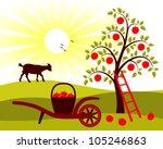 vector apple tree and hand... | Shutterstock .eps vector #105246863