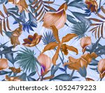 seamless tropical leaves and... | Shutterstock . vector #1052479223