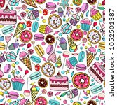 cute seamless pattern with... | Shutterstock .eps vector #1052501387