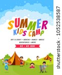 summer camp poster  flyer or... | Shutterstock .eps vector #1052538587