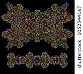 bright bohemian ethnic cliche... | Shutterstock .eps vector #1052544167