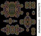 bright bohemian ethnic cliche... | Shutterstock .eps vector #1052544173
