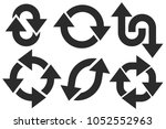 black bold arrow signs. circle... | Shutterstock .eps vector #1052552963