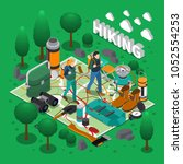 camping and hiking isometric... | Shutterstock .eps vector #1052554253