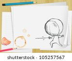 illustration of drawing paper... | Shutterstock .eps vector #105257567