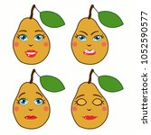 cartoon pears with emotions.... | Shutterstock .eps vector #1052590577