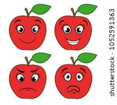 cartoon apple with emotions.... | Shutterstock .eps vector #1052591363