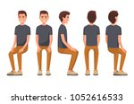 vector illustration of sitting... | Shutterstock .eps vector #1052616533
