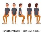 vector illustration of sitting... | Shutterstock .eps vector #1052616533