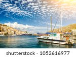 view on greek sea symi island... | Shutterstock . vector #1052616977
