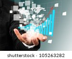 Businessman hand holding illustration graph successful concept. - stock photo