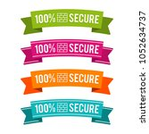 colorful 100  secure ribbons.... | Shutterstock .eps vector #1052634737