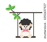 cartoon cute sheep black with... | Shutterstock .eps vector #1052637527