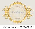 golden frame for wedding... | Shutterstock .eps vector #1052640713