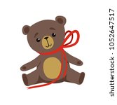 brown teddy bear with shiny... | Shutterstock .eps vector #1052647517