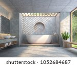 modern loft style bathroom with ... | Shutterstock . vector #1052684687