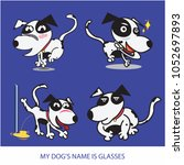 cartoon my dog's name is... | Shutterstock .eps vector #1052697893