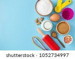 baking ingredients and utensils ... | Shutterstock . vector #1052734997