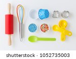 baking and kitchen utensils and ... | Shutterstock . vector #1052735003