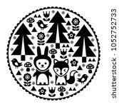cute scandinavian round folk... | Shutterstock .eps vector #1052752733