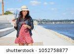 portrait of happy smiling woman ...   Shutterstock . vector #1052758877
