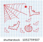 black spider and torn web.... | Shutterstock .eps vector #1052759507