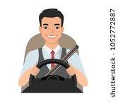 asian man driving a car. man... | Shutterstock .eps vector #1052772887