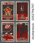 old soviet communism propaganda ... | Shutterstock .eps vector #1052796707