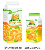 Packages for juice, paper packing with oranges and leaves & text, vector illustration - stock vector
