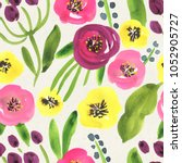 seamless watercolor floral... | Shutterstock . vector #1052905727