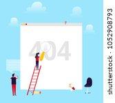error 404 page flat layout... | Shutterstock .eps vector #1052908793