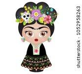 frida kahlo kokeshi doll  ... | Shutterstock .eps vector #1052958263