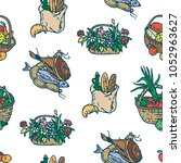 seamless pattern with farm... | Shutterstock .eps vector #1052963627