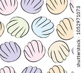 soft colorful sea shells... | Shutterstock .eps vector #1052971073