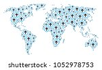 continental map concept done of ... | Shutterstock .eps vector #1052978753