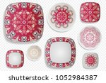 plate ornament  top view. home... | Shutterstock .eps vector #1052984387
