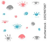 pattern of hand drawn eyes on... | Shutterstock .eps vector #1052987087