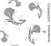 floral seamless pattern. plant... | Shutterstock .eps vector #1052990513