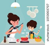 mother and girl cooking at home ... | Shutterstock .eps vector #1053003707